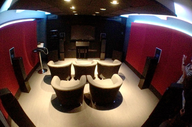 Dolby UK demo listening room with Atmos enabled speakers