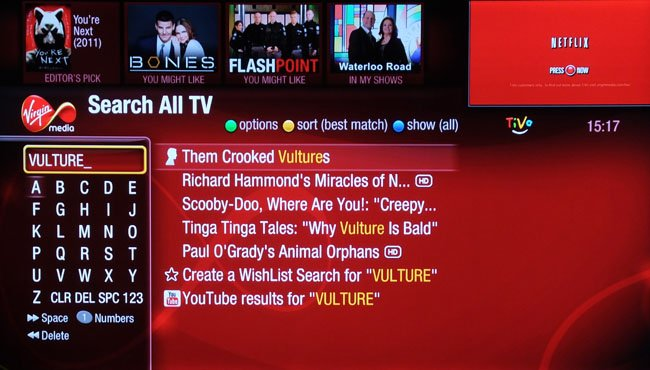 Virgin Media content searching on TiVo