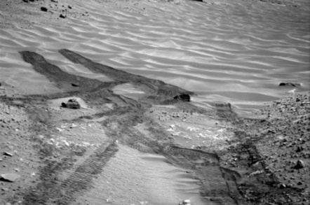 Curiosity looks down the ramp at the northeastern end of Hidden Valley towards Mount Sharp