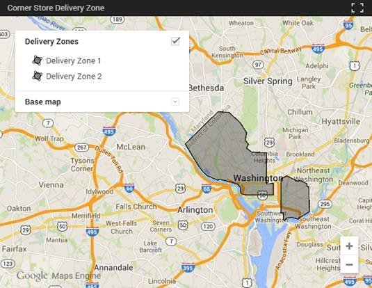 Uber's Washington DC delivery map