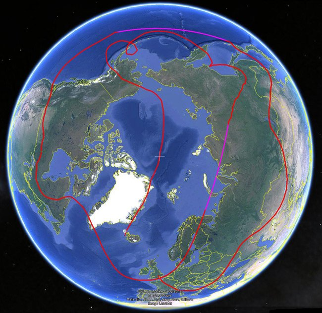 Polar view on Google Earth of B-64's track