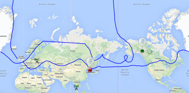 The track of B-64 plotted on Spacenear.us
