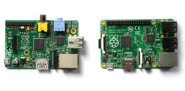 left and right : b and b+ raspberry pi