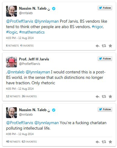 Screenshots of Twitter argument