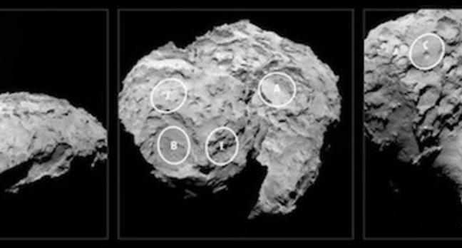 Landing sites on Rosetta's comet