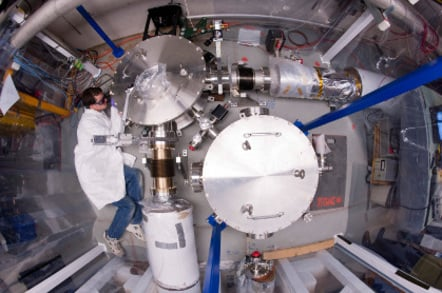 Top view of the Holometer as a Fermilab scientist works on the apparatus