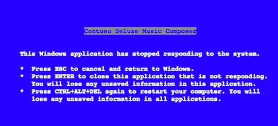 Steve Ballmer's Blue Screen of Death text