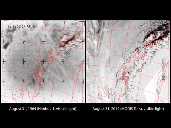 Nimbus and Modis Images 50 years apart