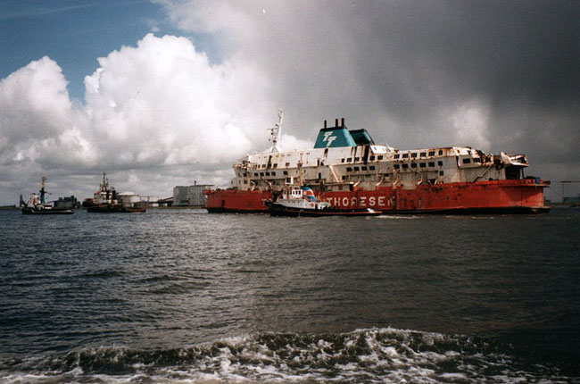 May 1987 MS Herald of Free Enterprise being towed into the harbour of Vlissingen, Netherlands after salvage.