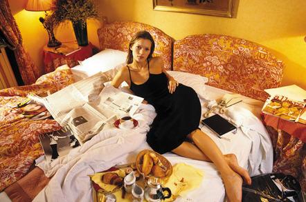 The fashion world's most privileged urchin lounges in a luxury hotel in Paris, 1993. © Geoff Wilkinson/RexUSA