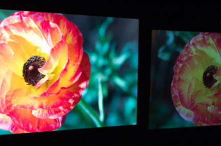 Dolby Vision display (left), standard display (right)