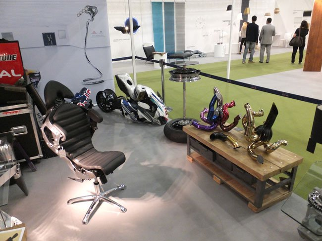 Racing Gold Superbike chair, manifold sculpture and wheel podium table