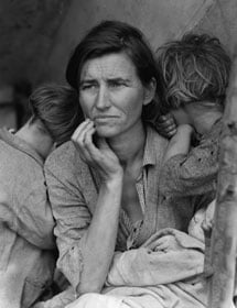 Destitute peapickers in California; a 32 year old mother of seven children, 1936