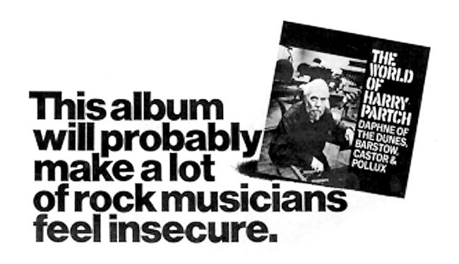 Columbia Records ad for The World of Harry Partch, 1969