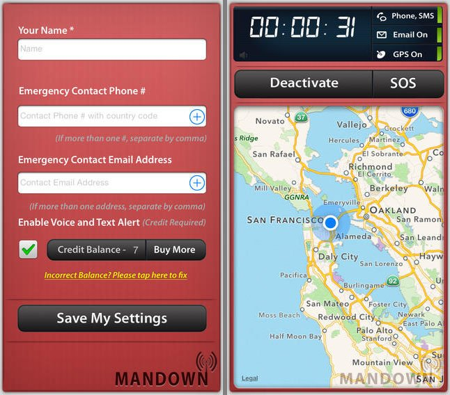 Mandown sends alerts in case of emergency or injury