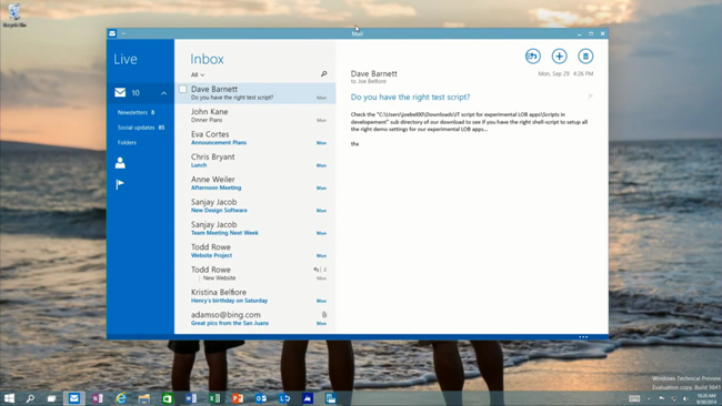 Apps in Windows - Windows 10 preview
