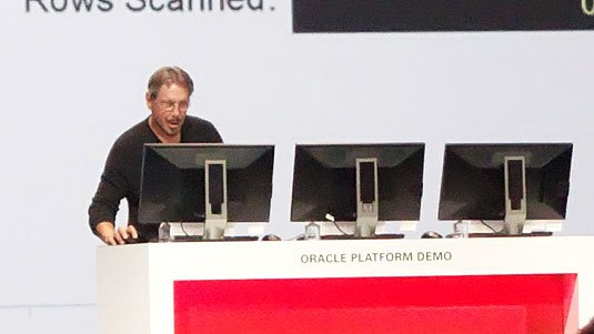 Larry Ellison running a demo at OpenWorld 2014