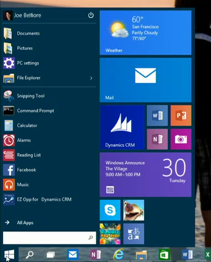 START MENU - Windows 10 preview
