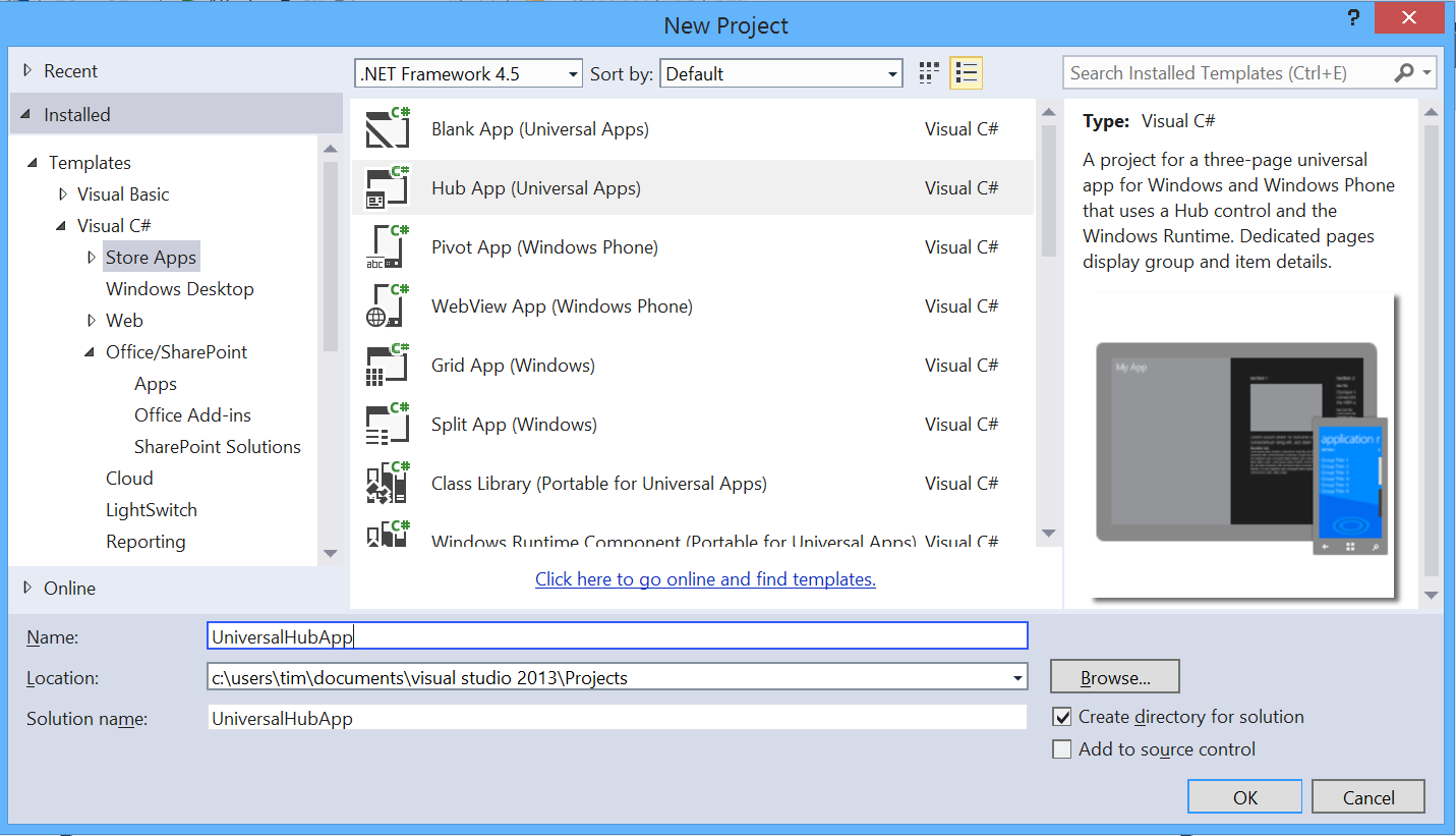 Creating a Universal App in Visual Studio