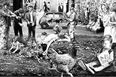 Gee Vaucher artwork – Feeding of the 5000 by Crass