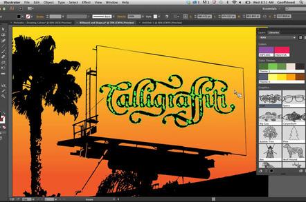 Adobe Shape vector art in position