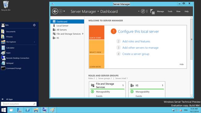 Windows 10 server preview screenshot