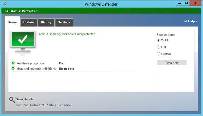 Windows 10 Server Defender screenshot