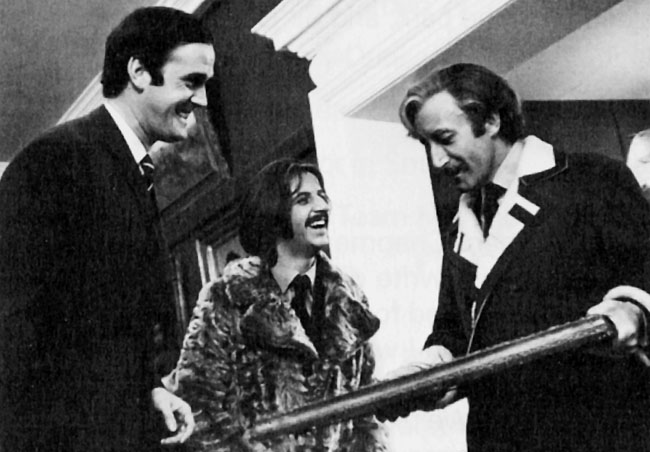Enjoying a joke with Ringo Starr and Peter Sellers