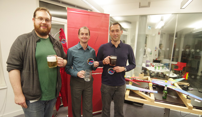 Our Kickstarter backers pose with their tankards