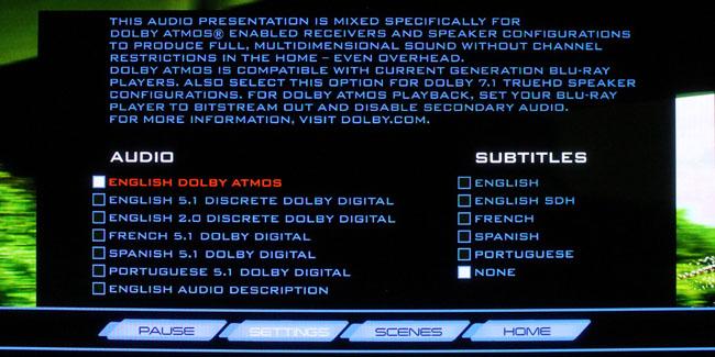 Dolby Atmos Blu-ray disc menu