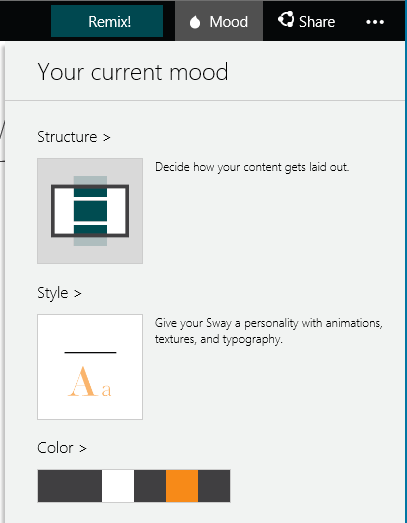 Layout options for a Sway card