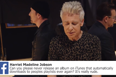 Screenshot from the Facebook video Q&A with U2
