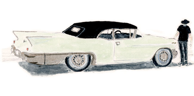 1957 Eldorado Biarritz Convertible 'Aunt Bee' illustration by Neil Young from Special Deluxe