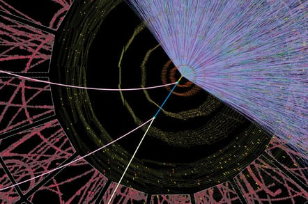 Simulated computer display of a particle collision in the large hadron collider (LHC) - image by CERN/Science photo library