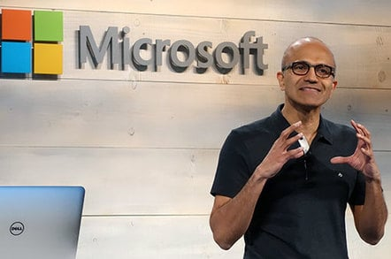 Satya Nadella speaking at a Microsoft cloud event