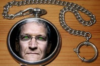 Tim Cook Apple CEO with glowing green eyes, dark glasses a la Demon Headmaster