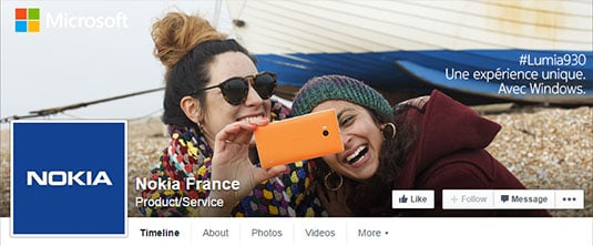 Screenshot of Nokia France's Facebook page showing Windows Phone branding changes