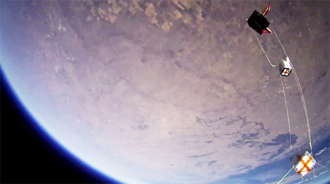 The payloads seen just after balloon burst