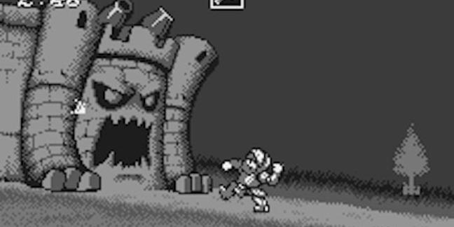 Ghosts 'n Goblins fighting a castle on the Bandai Wonderswan