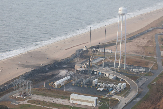 Aerial view of Wallops after Antares catastrophic launch failure