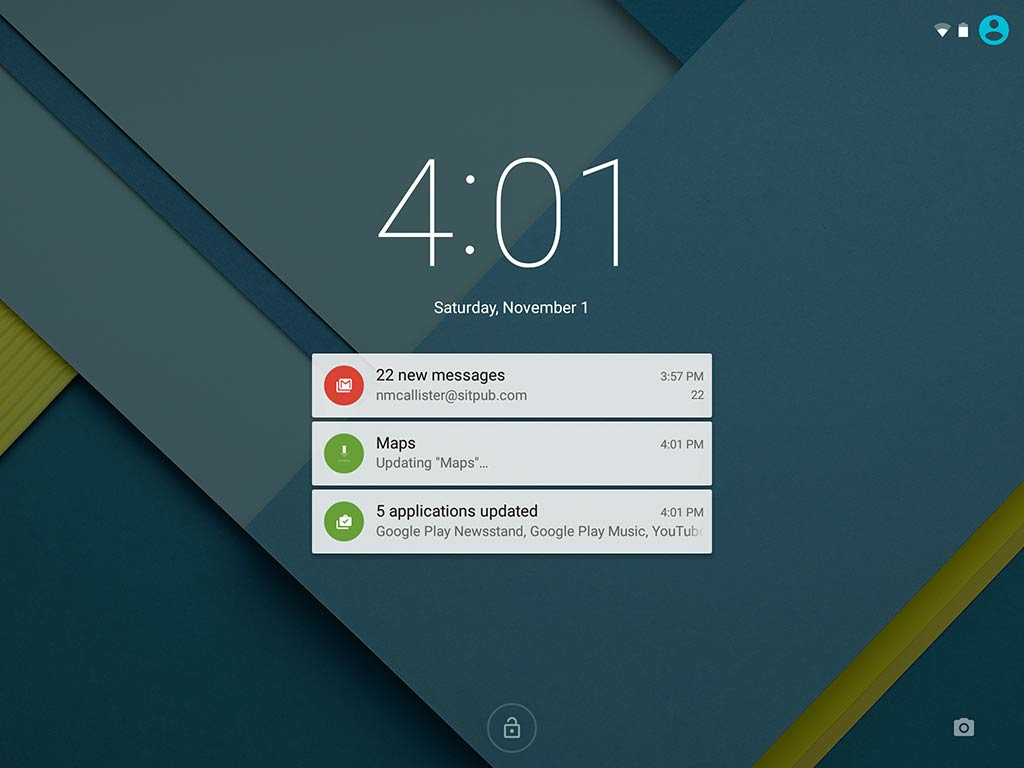 Screenshot of Android 5.0's new lock screen notifications