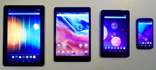 Comparison of the 8.9-inch Nexus 9 to other tablets in different sizes