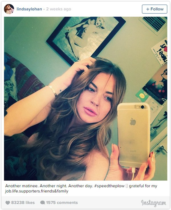 Lindsay Lohan in an Instagram selfie taken at the Playhouse Theatre