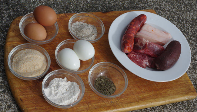 The ingredients need to make Scotch eggs