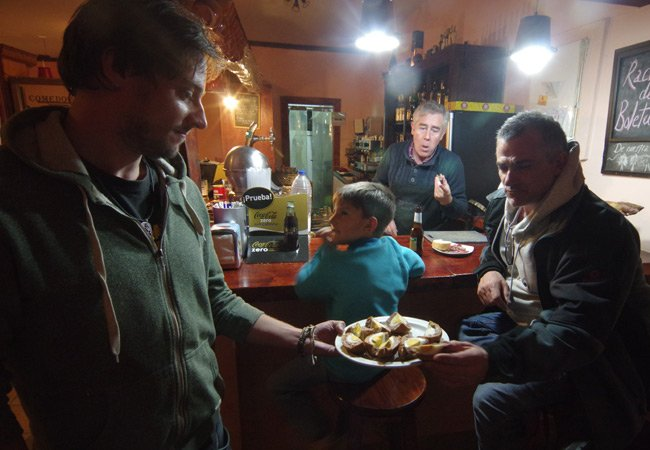 Matt presents eggs to the locals