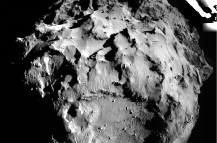 Philae ROLIS view of the comet landing site from 3km
