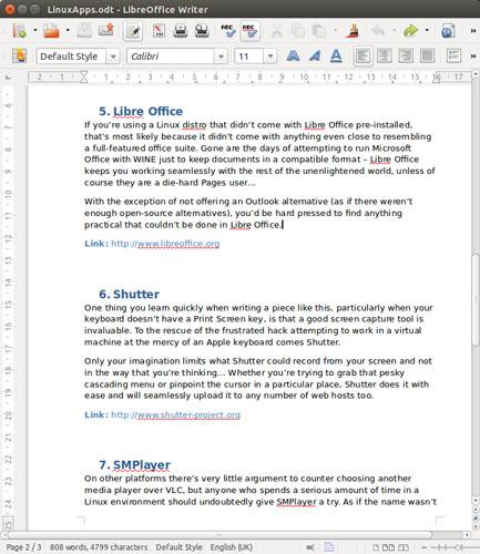 Libre Office productivity suite