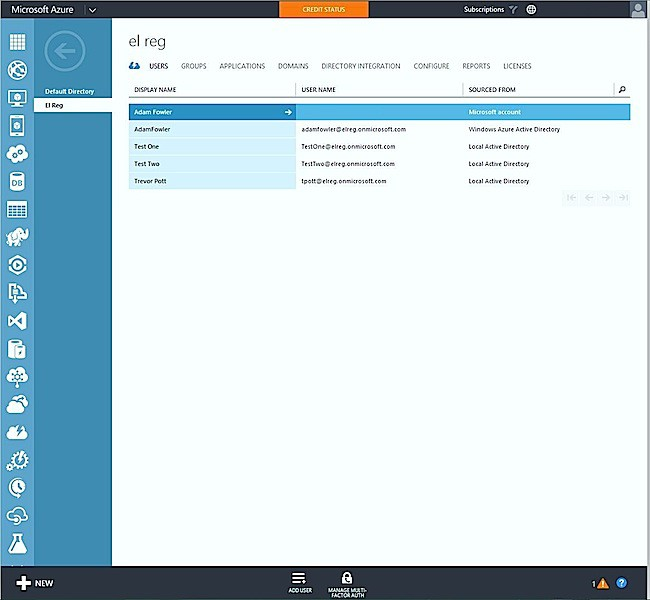 Azure Active Directory screenshot