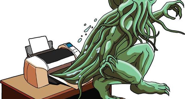 Cthulu springs from desktop printer