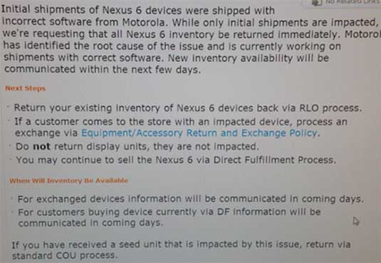 Screenshot of AT&T Nexus 6 recall memo